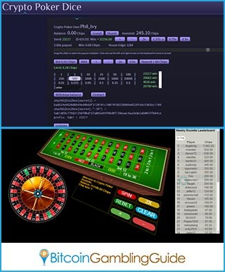 Crypto Poker Dice and Roulette