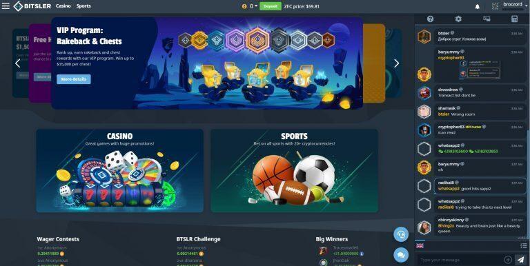 Bitsler Casino Main Page