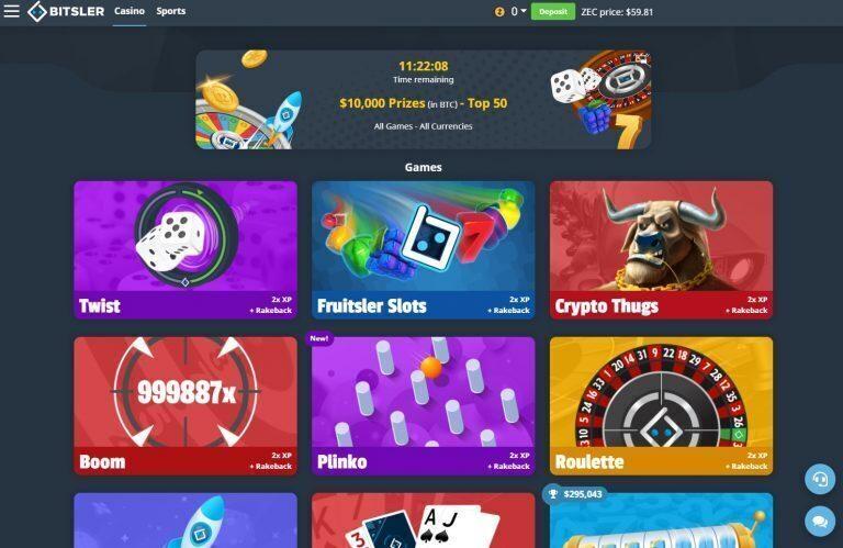 Bitsler Casino Page