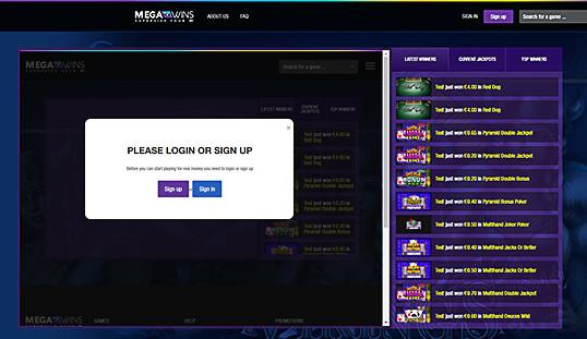 Megawins Casino Lobby