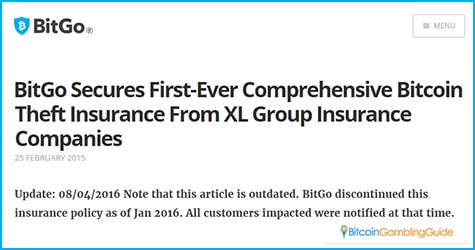 BitGo Insurance Policy
