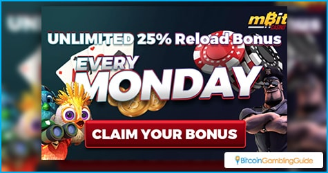 mBit Casino 25% Reload Bonus