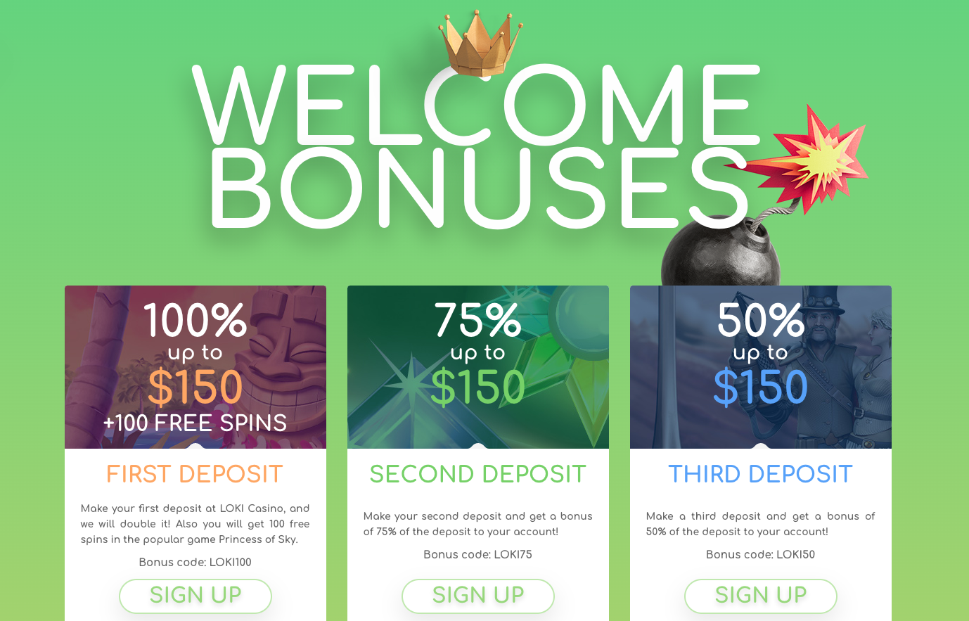 Loki Casino Welcome Bonuses