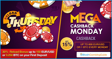 Mega Cashback Monday and Reload Thursday