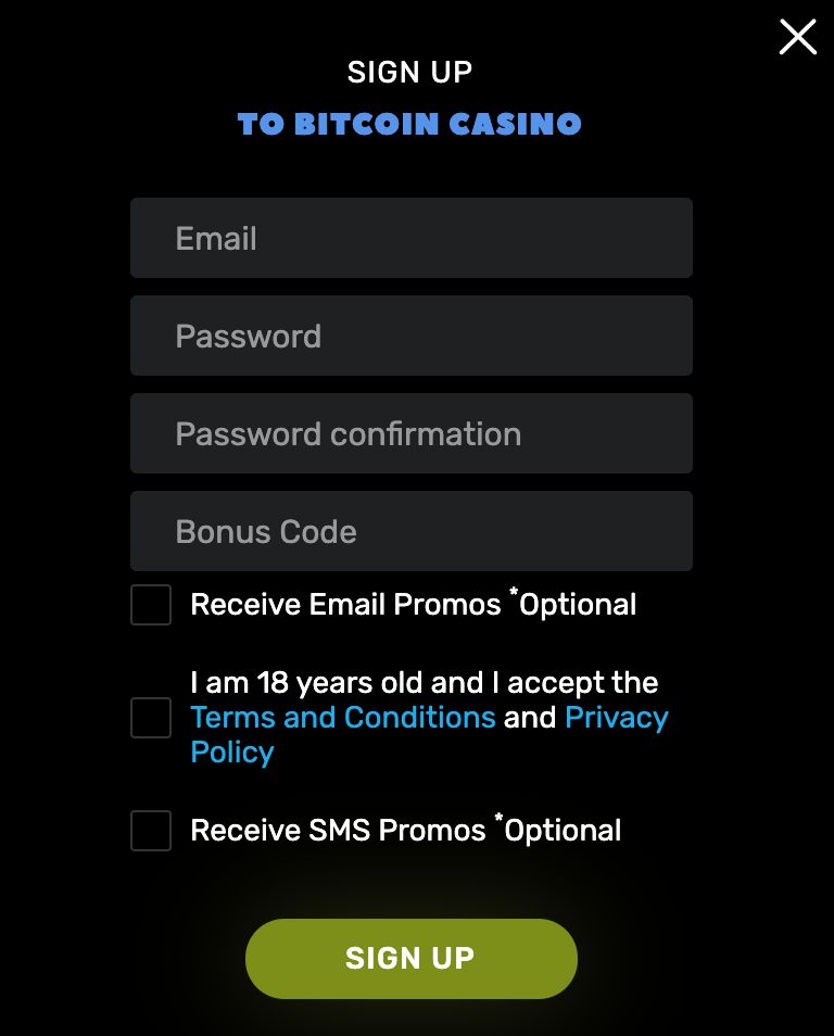 BitcoinCasino.us Sign Up Form