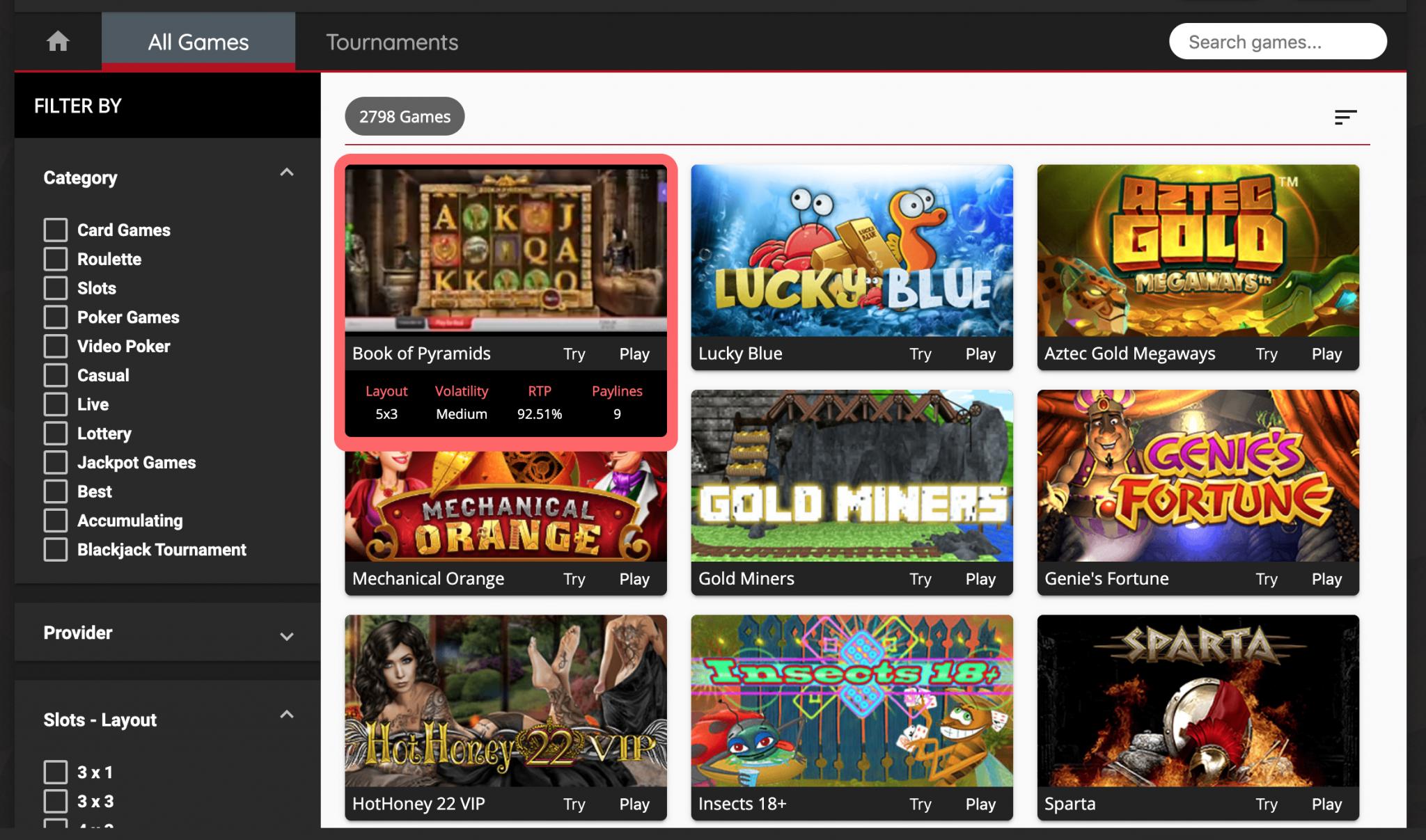 Oshi.io Casino Games