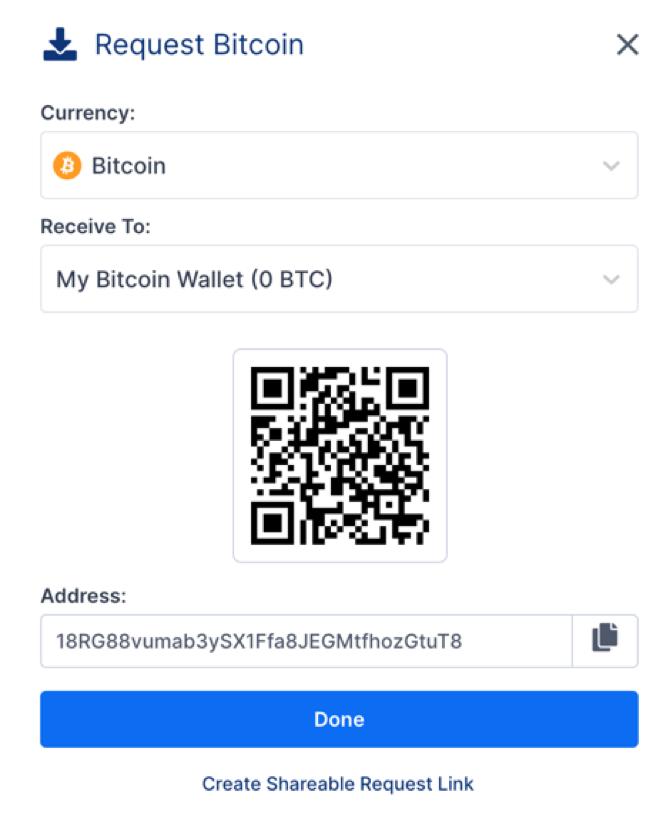 Requesting Bitcoin at Blockchain.com