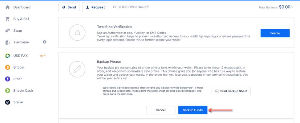 enabling two-step verification at blockchain.com