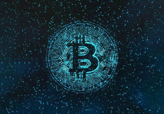 Digital Generated Image Of Illuminated Bitcoin