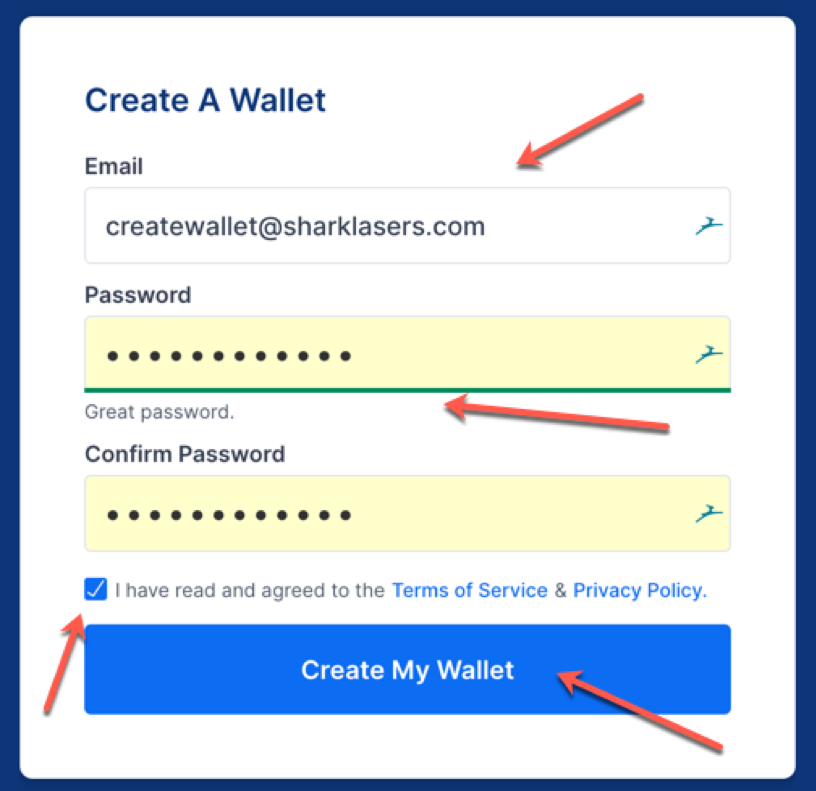 Registering for a crypto wallet