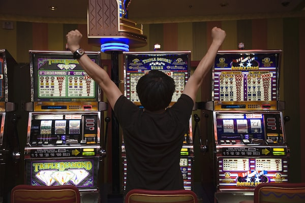 player winning at a casino slot