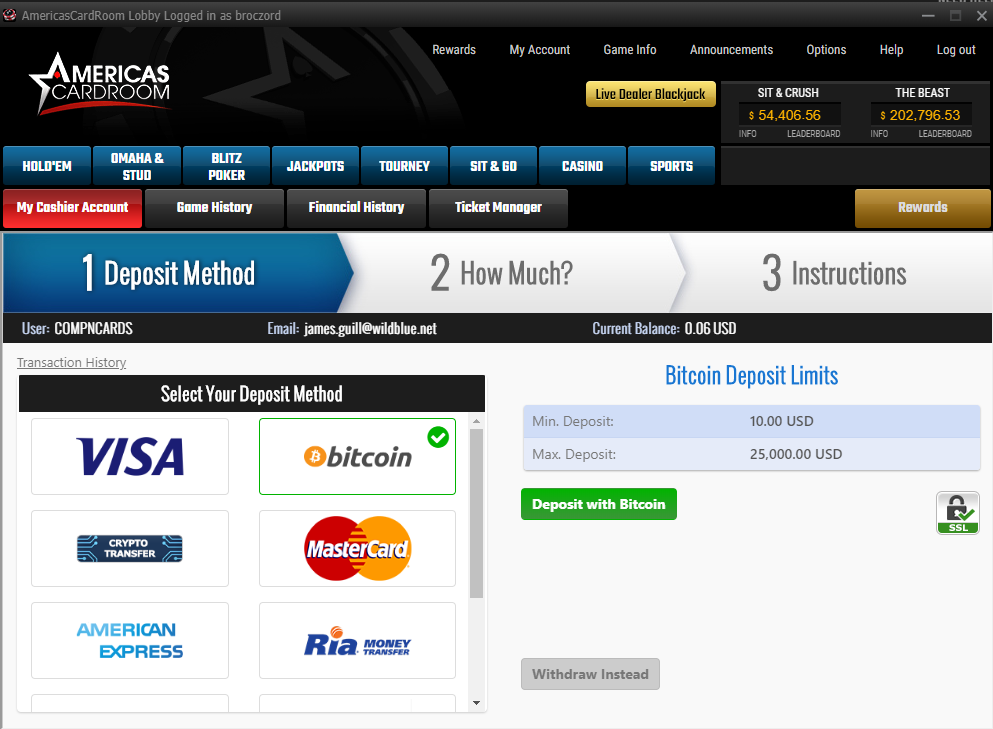 Americas Cardroom Bitcoin Deposit