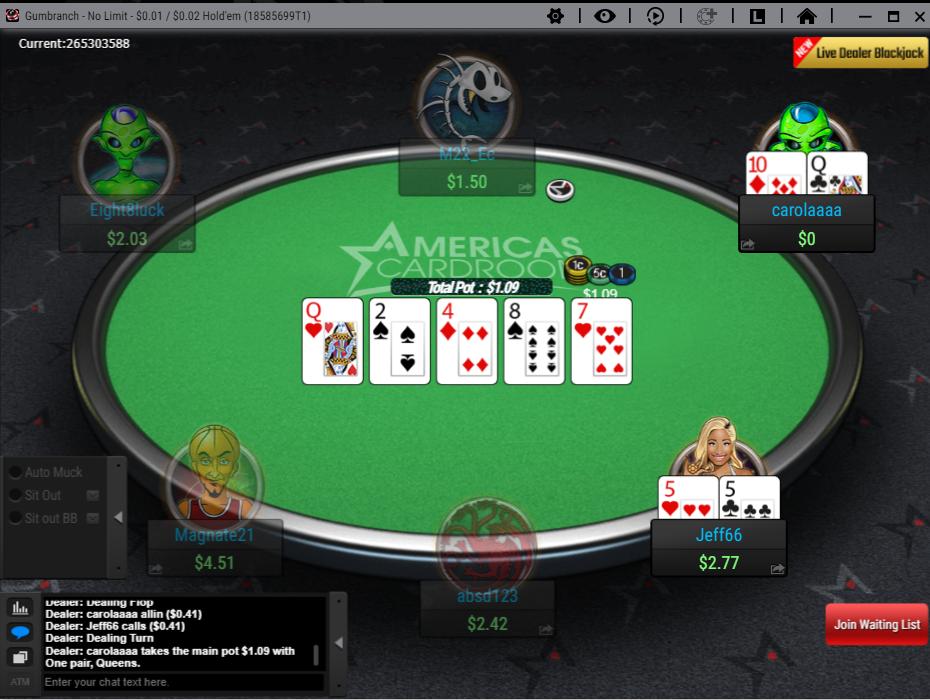 Americas Cardroom Holdem Gameplay