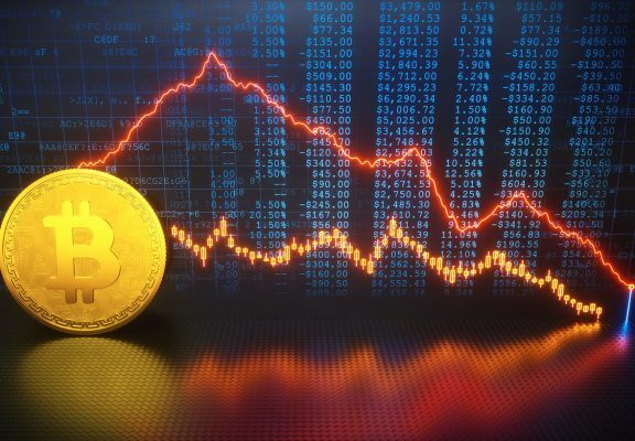 A graph of Bitcoin's price crashing down
